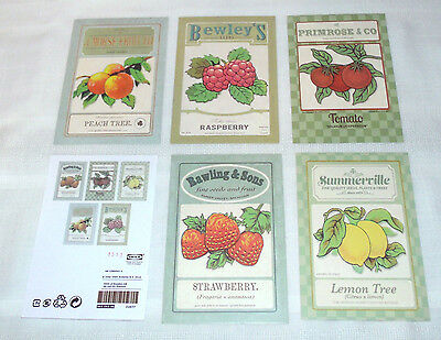 KORT Vintage Seed Packets Post Cards Set of 5 by Maria Mendez