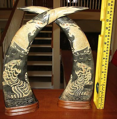 Chinese Scrimshaw Ox Horn Tiger Dragon Sculpture Large Statue Pair Mirror Image!
