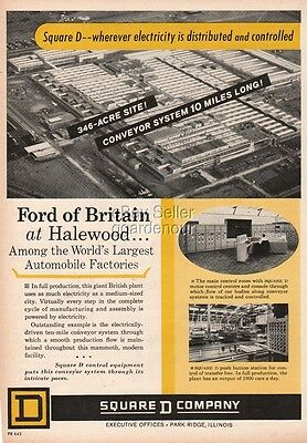 1964 Ford of Britain Halewood England UK Car Assembly Plant Photo Square D Ad