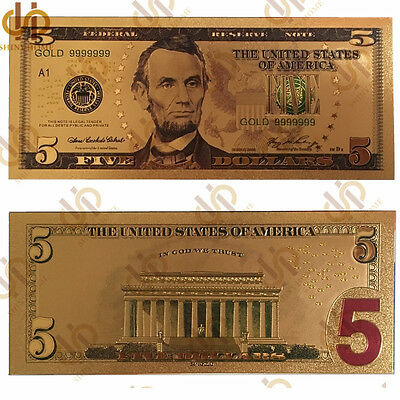 10PCS/Lot Gold Banknote Gold Plated Colored $5 Dollar Bill Novelty Money Collect