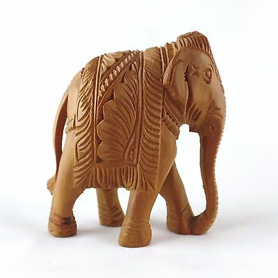 """Vintage Hand Carved Teak Wood Elephant Trunk Down Small 3"""" X 2 3/4"""""""