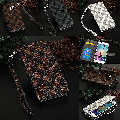 Luxury Leather Stand Grid Wallet Strap Case Cover for Samsung Galaxy Phone S8 +