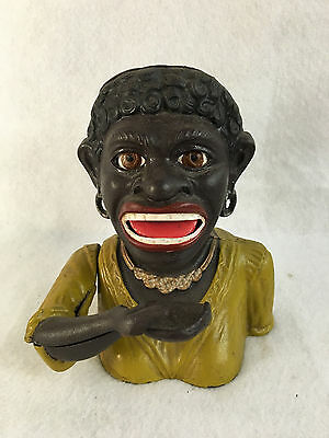 "Vintage Cast Iron ""Dinah"" Black Americana Working Mechanical Bank"