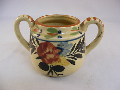 Vintage Floral Hand Painted China Pottery Handled Bowl