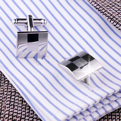 New Gentle Mens Stainless Business Shirt Silver Square Lattice Cufflinks