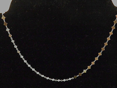 VicenzaSilver Sterling Silver Polished Diamond Shaped Link Necklace 16'' QVC