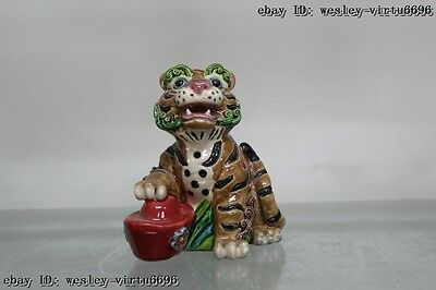 5 Taiwan Cochin pottery Colorful porcelain Evil wealth gold ingot tiger Statue