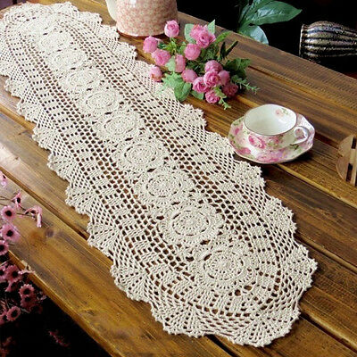 Vintage Handmade Table Runner Crochet Hollow Lace Cotton Desktop Decor Cover
