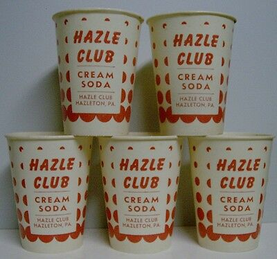 5 1950's Hazle Club Cream Soda Wax Cups - Unused - Hazleton, PA