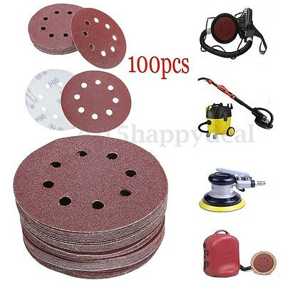 100Pcs 125mm 5'' 8 Hole 80/120/180/240/320 Grit Sanding Disc Orbital Sander Pads