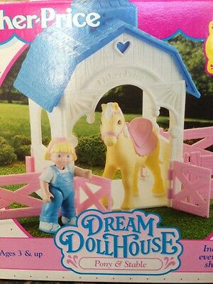 Fisher Price Vintage Dollhouse Furniture Pony And Stable Original Box