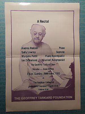 Geoffrey Tankard Foundation recital poster, 1983, Bermuda Anglican Cathedral