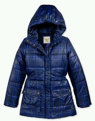 Tommy Hilfiger Girls Printed Hooded Puffer Winter Jacket Blue SMALL Size 8 NWT