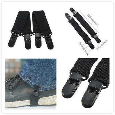 2Pc Adjustable Elastic Motorcycle Bike Boot Strap Pant Clips Stirrups Jod Clips