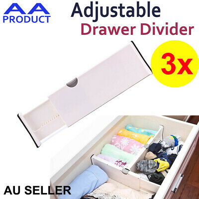 3xPlastic Retracting Adjustable Drawer Divider Storage Partition Board Organizer