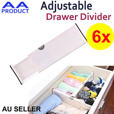 6xPlastic Retracting Adjustable Drawer Divider Storage Partition Board 6rganizer