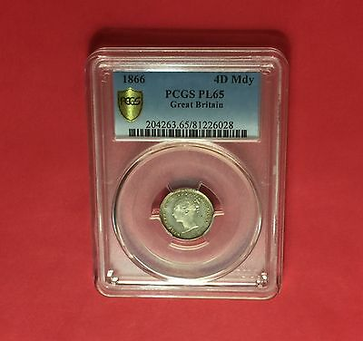 Great Britain Maundy-UNC 1866 4 Pence-certified by PCGS Proof-Like 65.rare grade
