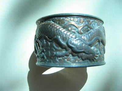 Antique Chinese Copper Dragon In Relief Small Bracelet / Napkin Ring
