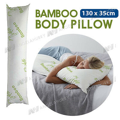 BAMBOO Body Pillow Foam Support Full Long Large Natural 130cm x 35cm