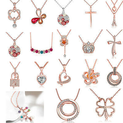 Retro Rose Gold plated Crystal Rhinestone Sweater Chain Pendant Necklace Gift