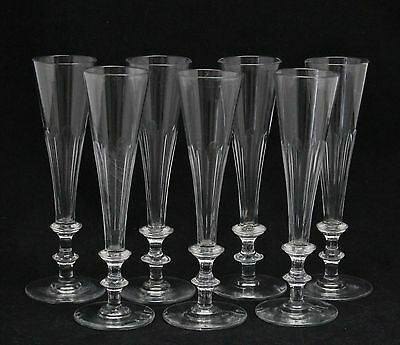 7x antique early 19th C. Flute, Champagne Glass, ca.1820, funel cuppa & 2 knops