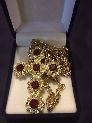 Quality Pectoral Cross Made With Red Swarovski Crystallized Elements for Priest