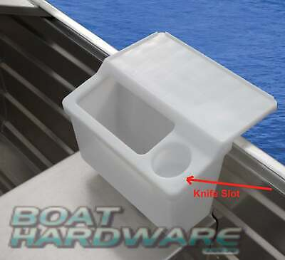 Storage Bait Board Tackle Bin Bucket with Cup Can Knife Holder Tinnie Gunwale