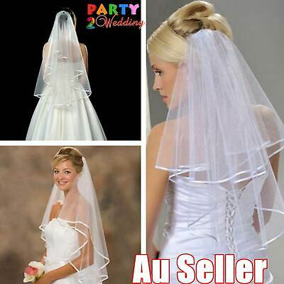 Women Bridal Wedding 2-Tier Veil With Satin Edge Comb Hen's Night White Ivory