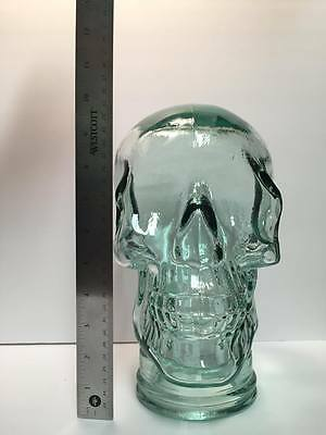 Full Size Mannequin Human Skull Glass Head Display Lt Green NEW!! MADE IN SPAIN