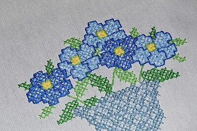 Blue Flower Pot Frenzy! Vintage German Hand Embroidered Spring Tablecloth
