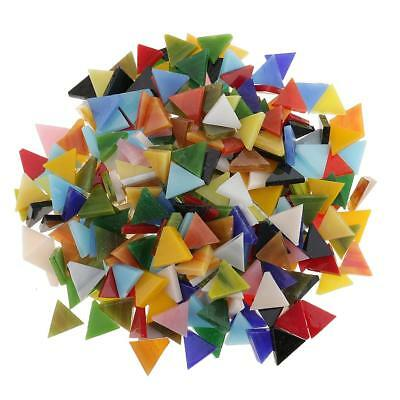 300x Mixed Color Triangle Glass Mosaic Tiles Tessera for DIY Art Craft 12mm
