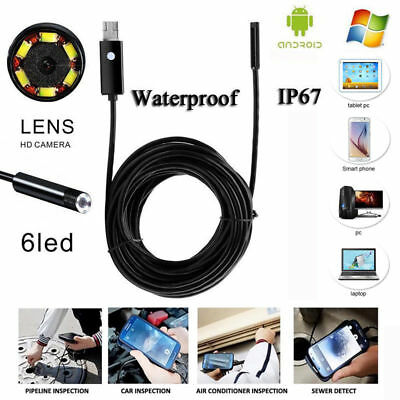 5M 6LED USB Waterproof Endoscope Inspection HD Camera Tube For Android PC Laptop
