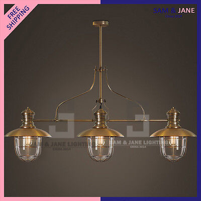Juxtapose Chandelier 3 Light Brass Ceiling Lighting Fixture Vintage Home Pendant
