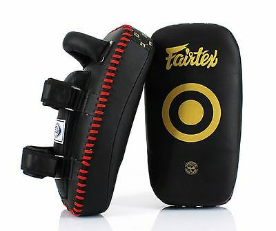 NEW FAIRTEX KPLC5 Black Gold LIGHTWEIGHT MUAY THAI Boxing MMA Curve Kick Pads