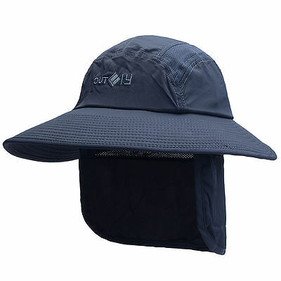 New Mens Wide Brim Outdoor UV Protection Removable Sun Hat Quick Dry Fishing Cap