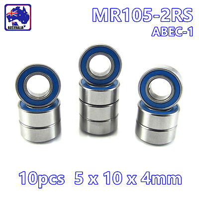 10pcs MR105-2RS Blue Rubber Sealed Ball Bearing Miniature 5x10x4mm  OMOB56105x10
