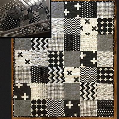handmade baby boy cot quilt pram playtime blanket black white monochrome cross
