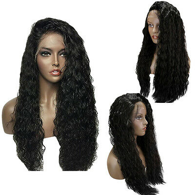 Natural Long Curly Towheaded Synthetic Lace Front Wig For Fashion Women NEW
