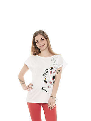 Elisabetta Franchi MA0769823 t-shirt donna cotone stampa strass made in Italy