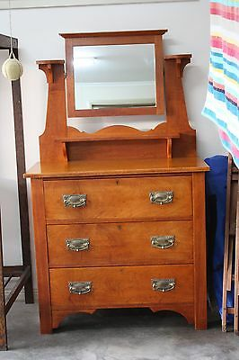 Antique Silky Oak Dresser Duchess Chest of Drawers with Mirror