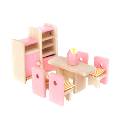 Wooden Dining Room Table Chair Cushion Vase for Dollhouse Furniture Kids Toy