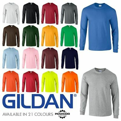 Gildan Mens Ultra Cotton Adult Long Sleeve Plain T Shirt Cotton Tee Shirt 2400