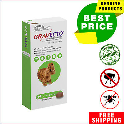Bravecto for Dogs flea and tick treatment 10 to 20 Kg Green Pack 1 Chew