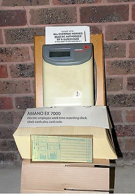 AMANO 7000 Employee Work Time Clock, Cards and Card Racks