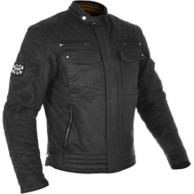Oxford Hardy Wax Cotton Motorcycle Motorbike Jacket - Black
