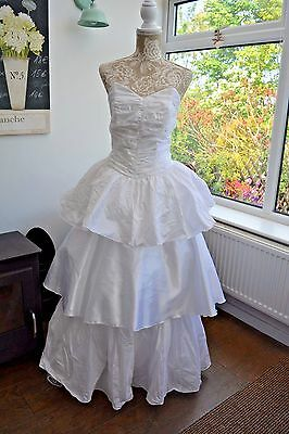 Vintage 1980's White Satin Wedding Hen TV Party Theatre Fancy Dress UK 6-8