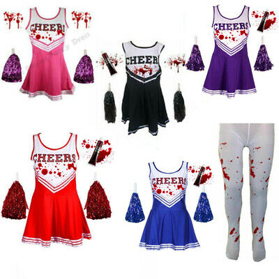Cheerleader Fancy Dress Costume Outfit Costume & Pom Poms High School