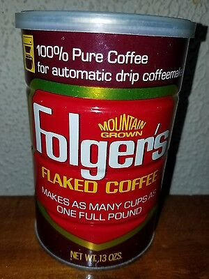 FOLGER'S FLAKED Coffee Vintage Can 13oz coffee tin AUTOMATIC DRIP Mtn Grown