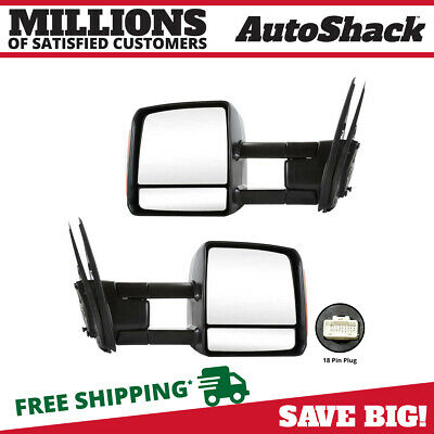 Power Towing Heated Signal Mirrors Pair Set for 07-16 Toyota Tundra Pickup Truck