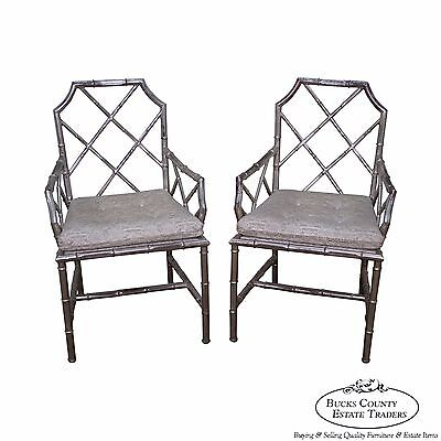 Mid Century Pair of Chinese Chippendale Italian Silver Gilt Metal Armchairs (A)